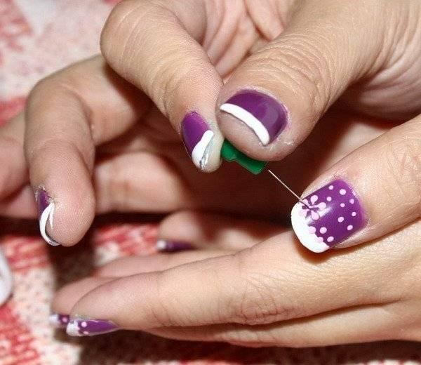 цветы на ногтях иголкой фото