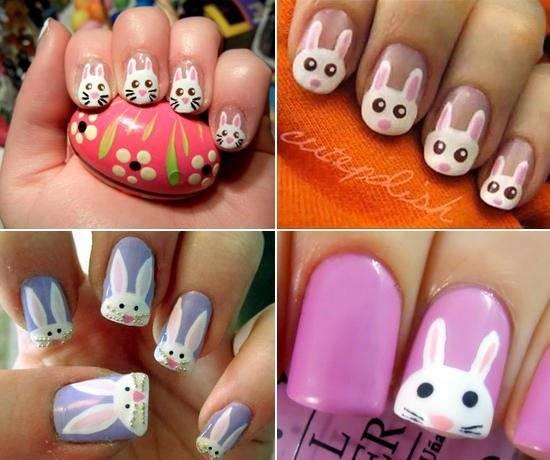 Как нарисовать зайца на ногтях поэтапно