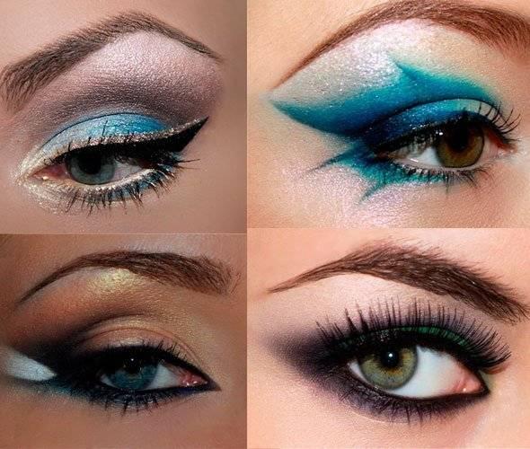 Макияж карие глаза голубые тени