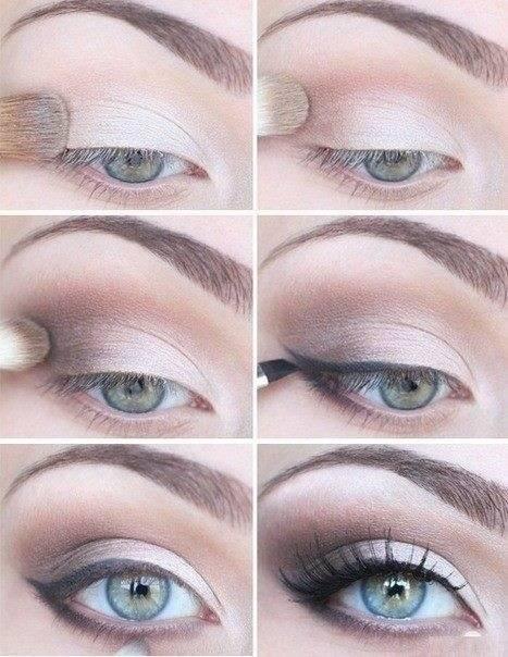 Стандартный вечерний макияж для серых глаз