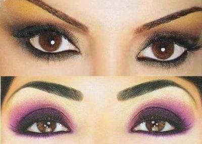 Как сделать синий и золотой макияж для карих глаз