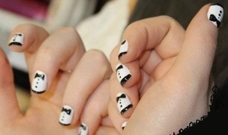 черно белый маникюр